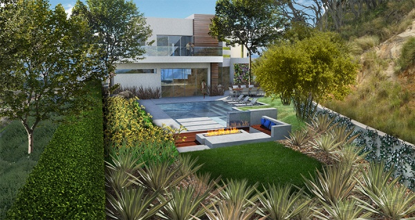 Zorada Court: Ecocentrix landscape design, rendered by Ryan Knope